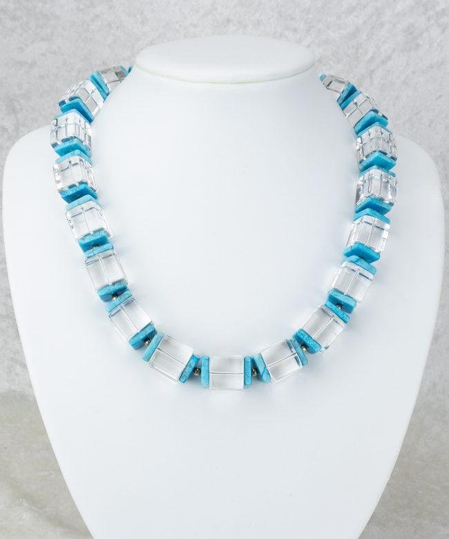 Würfelkette aus Bergkristall und Türkis